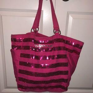 Victoria's Secret Hot Pink Sequins tote